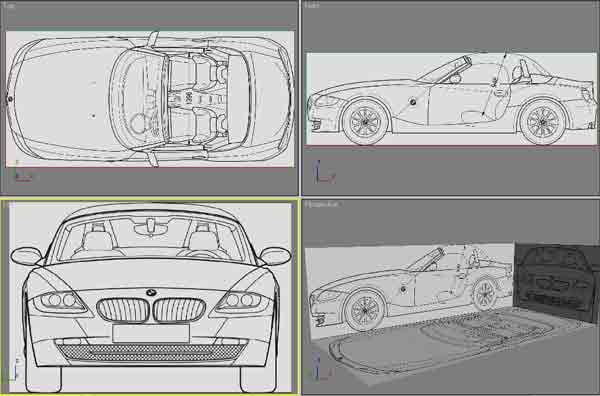 Cgarena z4 unleashed car modeling tutorial this what you found in most of the tutorials but i will add an important and small notice after put the blueprints inside the 3d max appear as below malvernweather Images