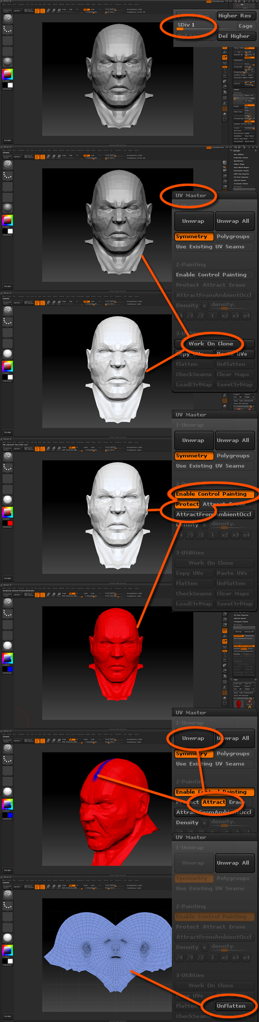 Texturing 3d-models with layers, sculpting, painting with color, specular, bump zbrush